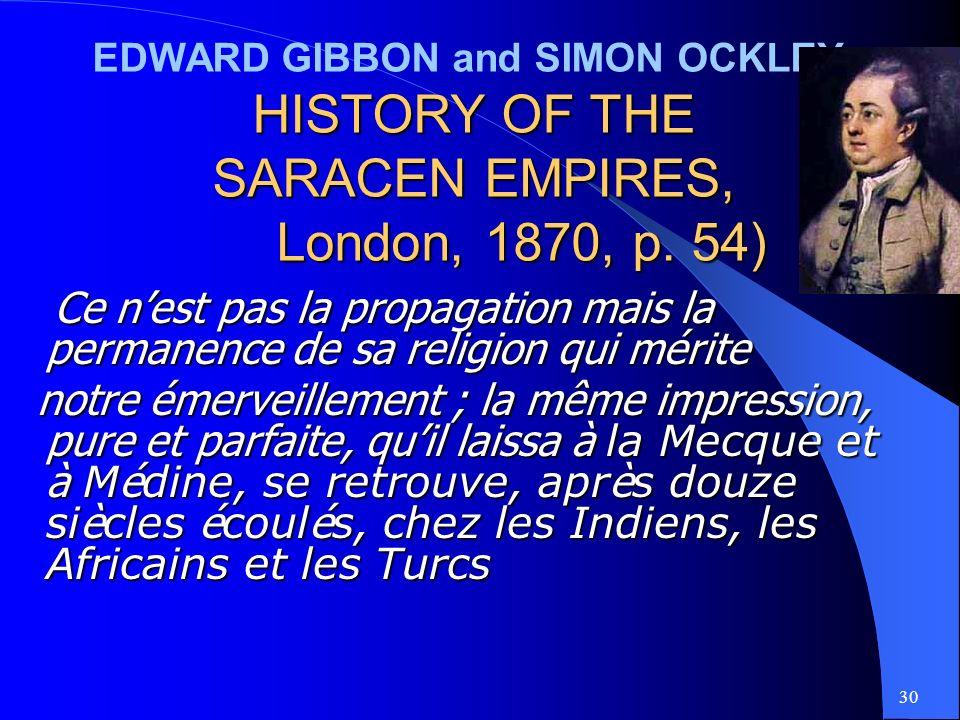 30 EDWARD GIBBON and SIMON OCKLEY- HISTORY OF THE SARACEN EMPIRES, London, 1870, p.