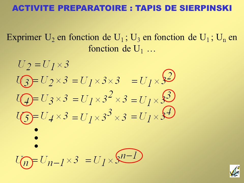 Exprimer U 2 en fonction de U 1 ; U 3 en fonction de U 1 ; U n en fonction de U 1 …