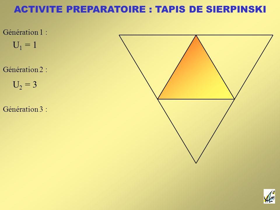 ACTIVITE PREPARATOIRE : TAPIS DE SIERPINSKI U 1 = 1 U 2 = 3 Génération 1 : Génération 2 : Génération 3 :