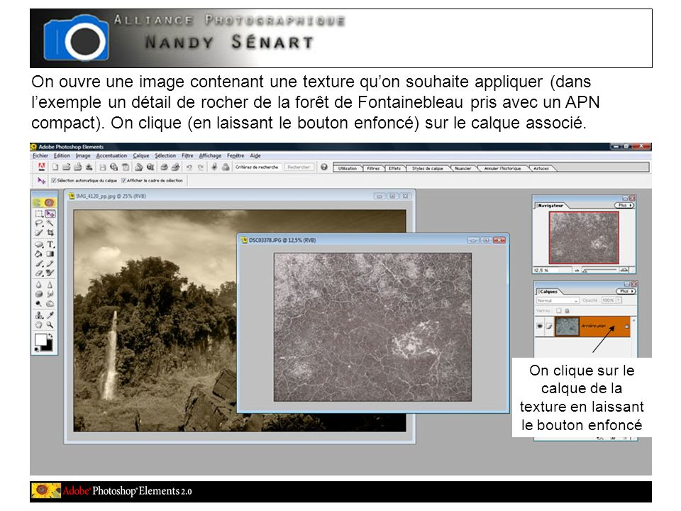 On ouvre une image contenant une texture quon souhaite appliquer (dans lexemple un détail de rocher de la forêt de Fontainebleau pris avec un APN comp