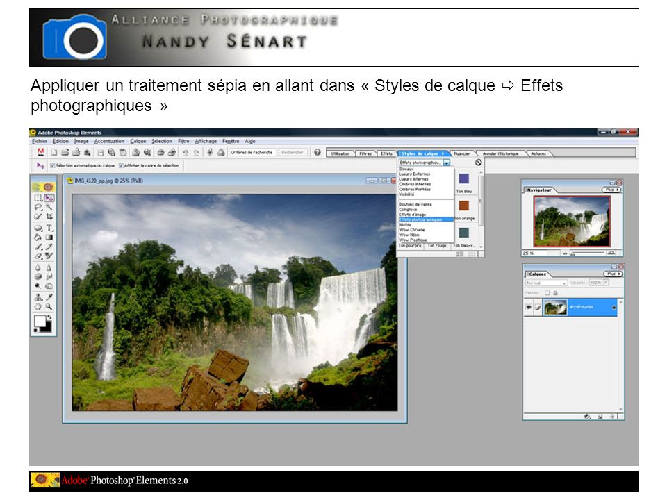 Appliquer un traitement sépia en allant dans « Styles de calque Effets photographiques »