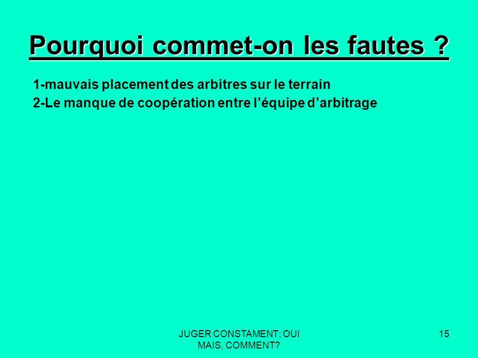 JUGER CONSTAMENT; OUI MAIS, COMMENT. 14 Pourquoi commet-on les fautes .