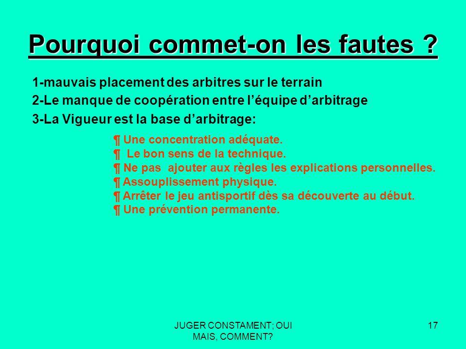 JUGER CONSTAMENT; OUI MAIS, COMMENT. 16 Pourquoi commet-on les fautes .