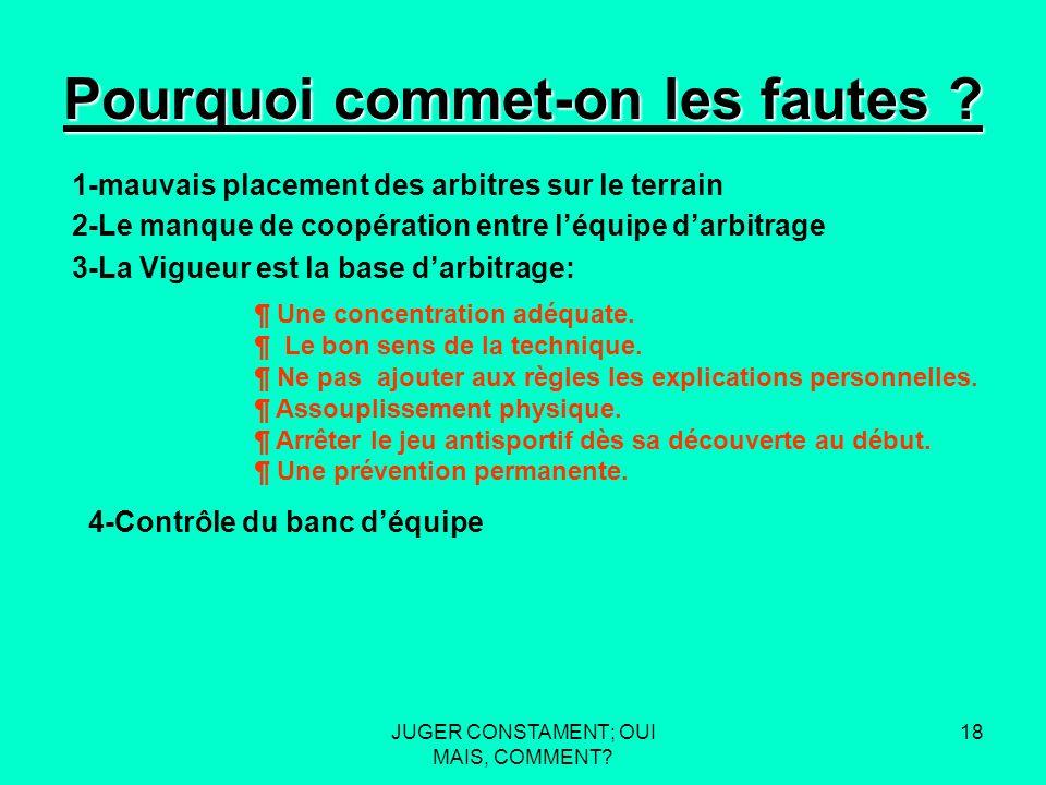 JUGER CONSTAMENT; OUI MAIS, COMMENT. 17 Pourquoi commet-on les fautes .