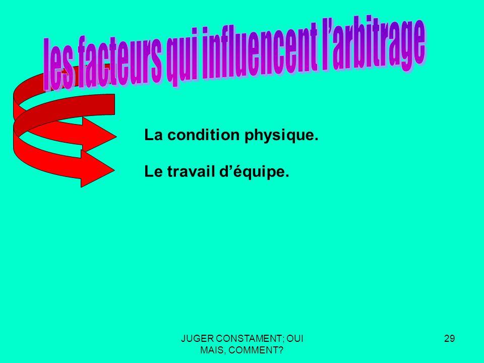 JUGER CONSTAMENT; OUI MAIS, COMMENT 28 La condition physique.