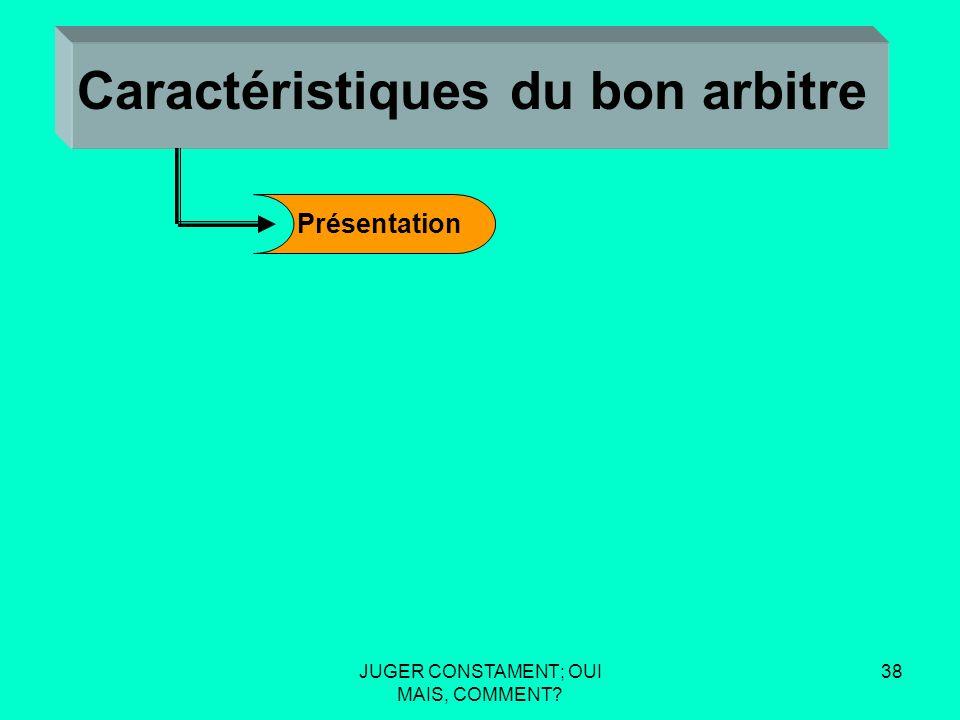 JUGER CONSTAMENT; OUI MAIS, COMMENT 37 Caractéristiques du bon arbitre