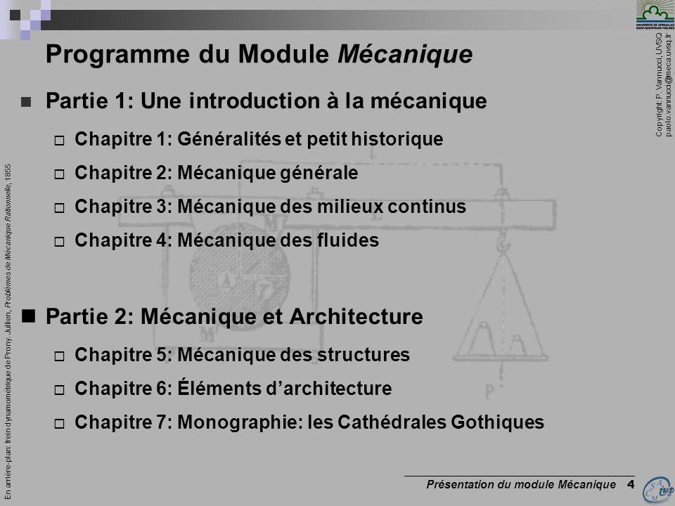 Copyright: P. Vannucci, UVSQ paolo.vannucci@meca.uvsq.fr _________________________________________ Présentation du module Mécanique 4 Programme du Mod