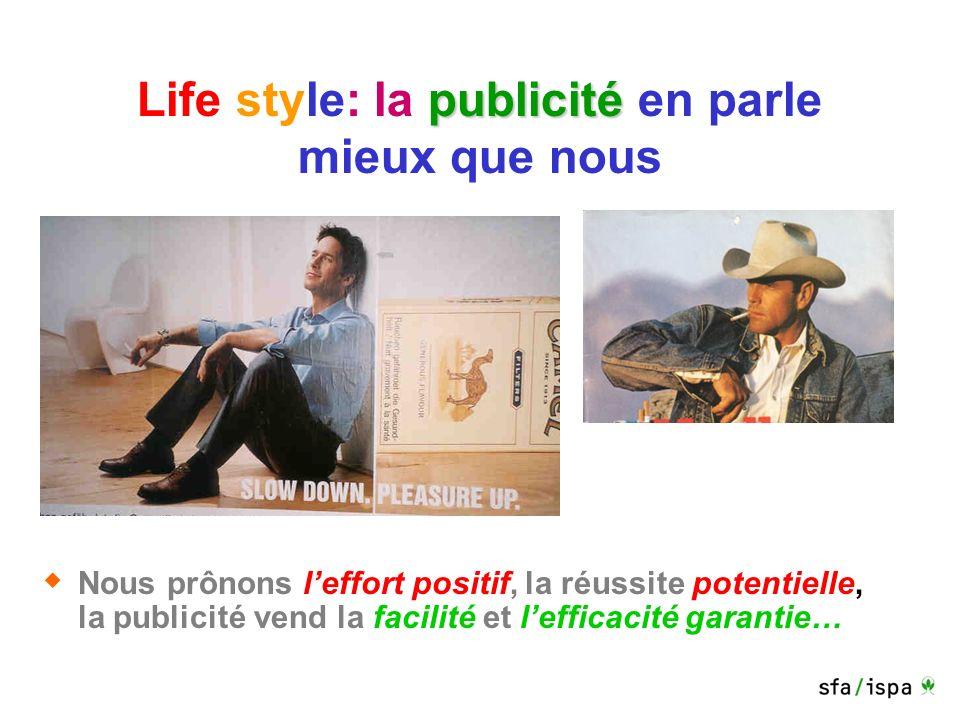 publicité Life style: la publicité en parle mieux que nous Nous prônons leffort positif, la réussite potentielle, la publicité vend la facilité et lefficacité garantie…