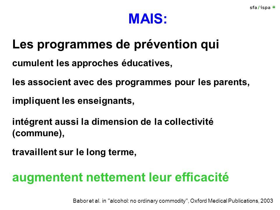 MAIS: Les programmes de prévention qui cumulent les approches éducatives, les associent avec des programmes pour les parents, impliquent les enseignants, intégrent aussi la dimension de la collectivité (commune), travaillent sur le long terme, augmentent nettement leur efficacité Babor et al.