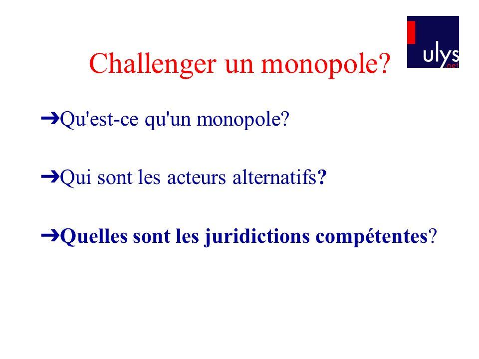 Challenger un monopole.Qu est-ce qu un monopole. Qui sont les acteurs alternatifs.