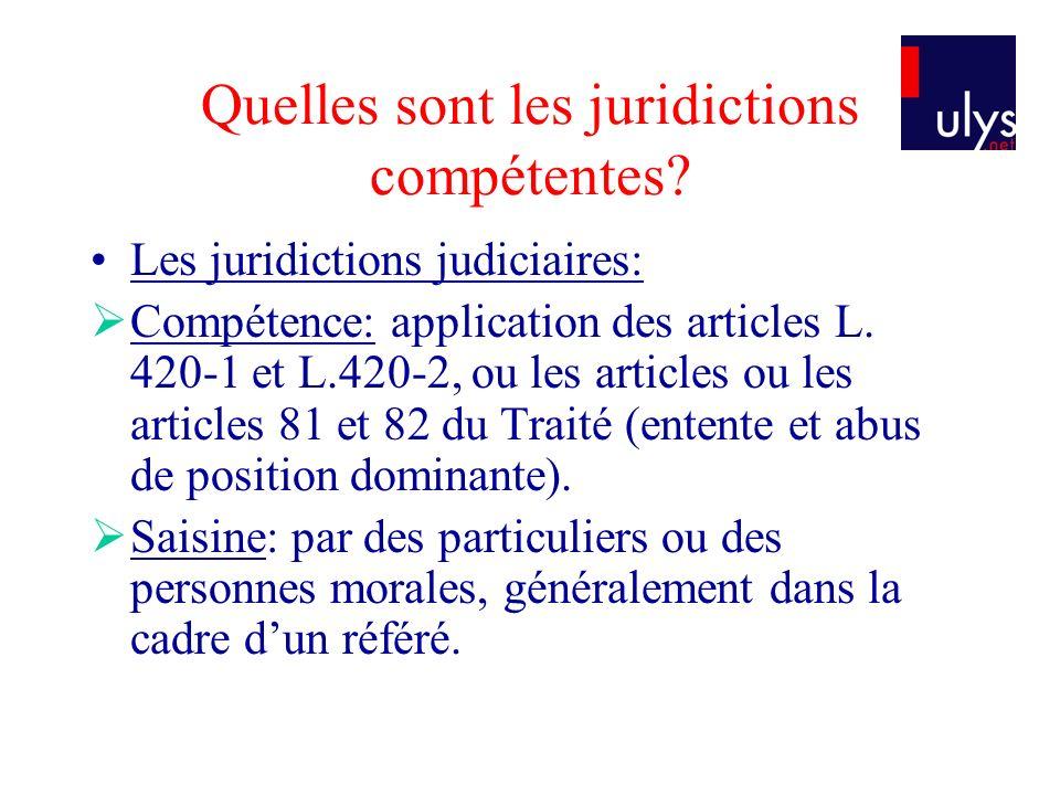 Quelles sont les juridictions compétentes.