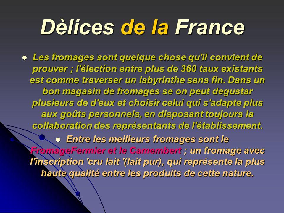 Dèlices de la France Les fromages sont quelque chose qu'il convient de prouver ; l'élection entre plus de 360 taux existants est comme traverser un la