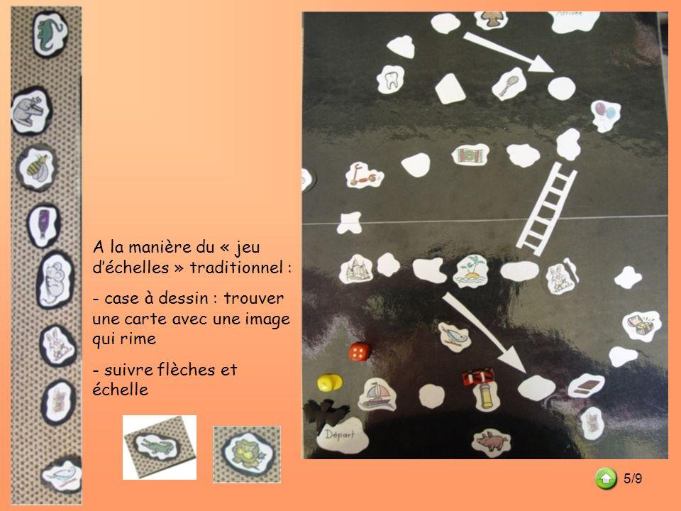 A la manière du « jeu déchelles » traditionnel : - case à dessin : trouver une carte avec une image qui rime - suivre flèches et échelle 5/9