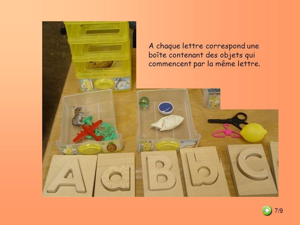 A chaque lettre correspond une boîte contenant des objets qui commencent par la même lettre. 7/9