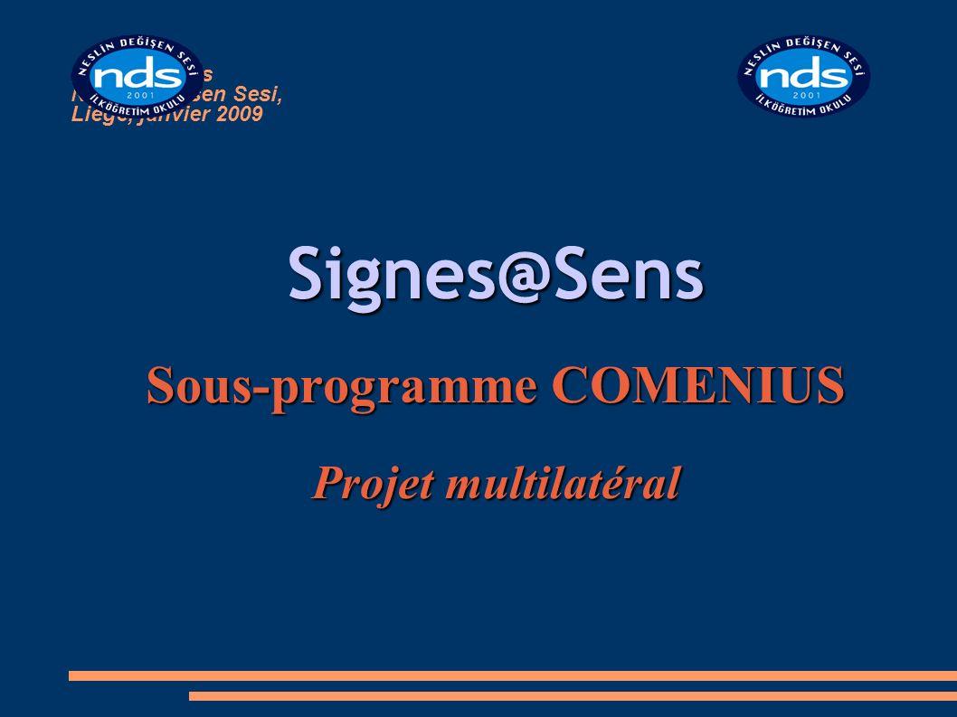Signes@sens Neslin Degisen Sesi, Liège, janvier 2009 Signes@Sens Sous-programme COMENIUS Projet multilatéral