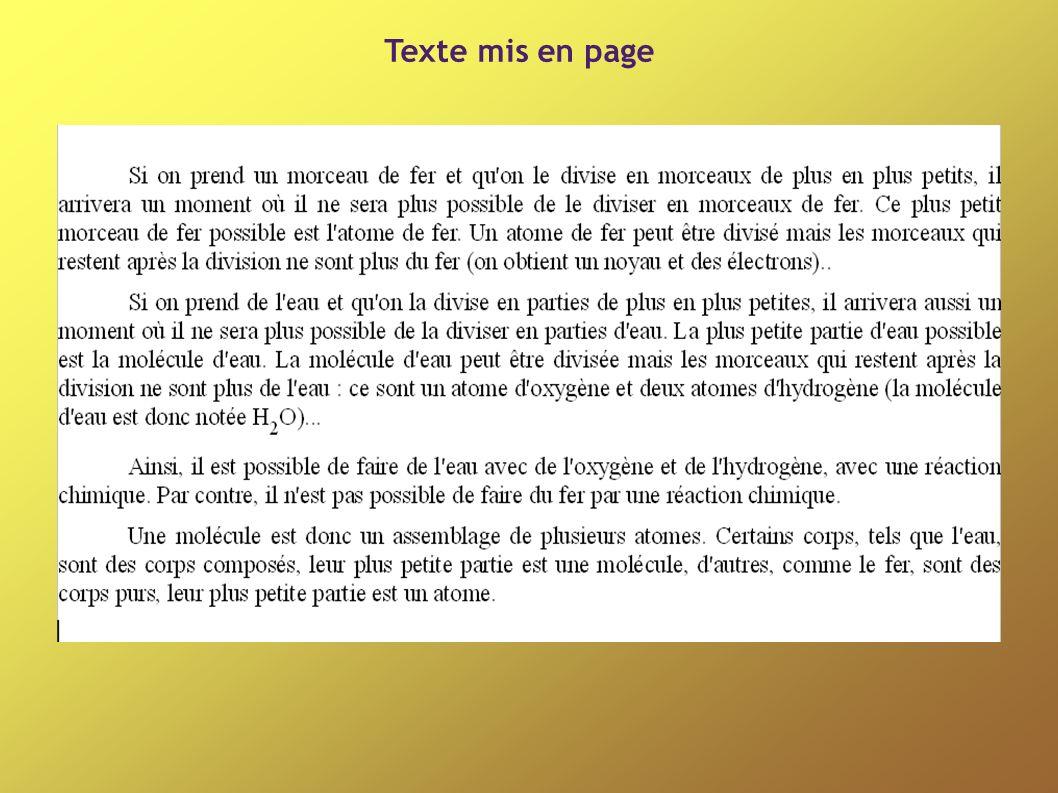 Texte mis en page