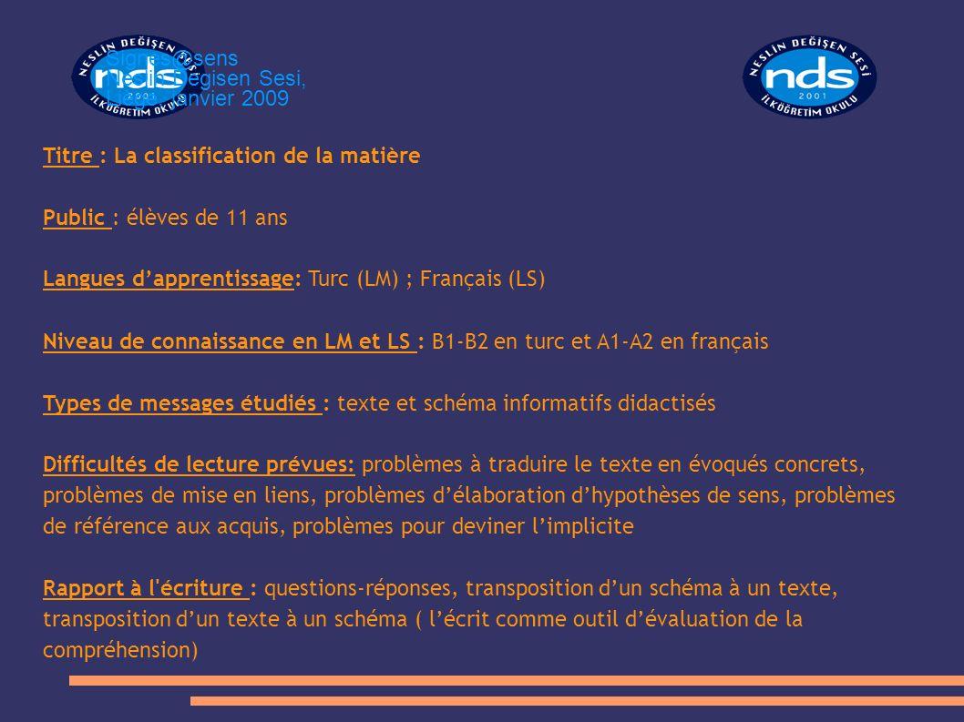 Titre : La classification de la matière Public : élèves de 11 ans Langues dapprentissage: Turc (LM) ; Français (LS) Niveau de connaissance en LM et LS