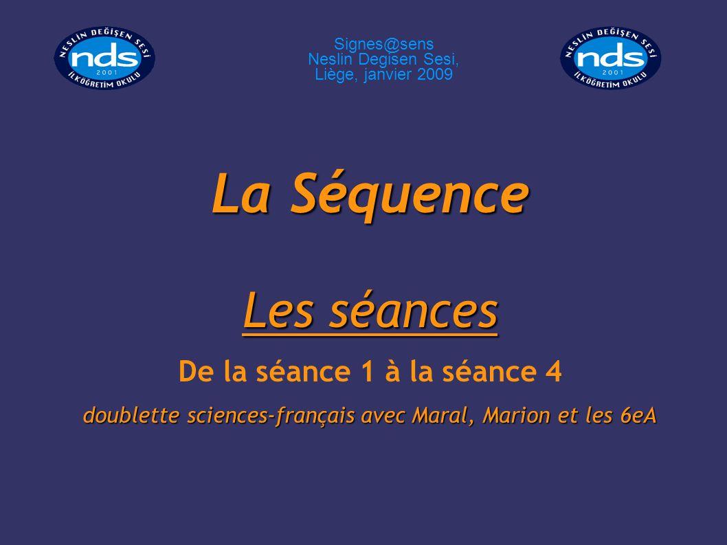 La Séquence Les séances De la séance 1 à la séance 4 doublette sciences-français avec Maral, Marion et les 6eA Signes@sens Neslin Degisen Sesi, Liège,
