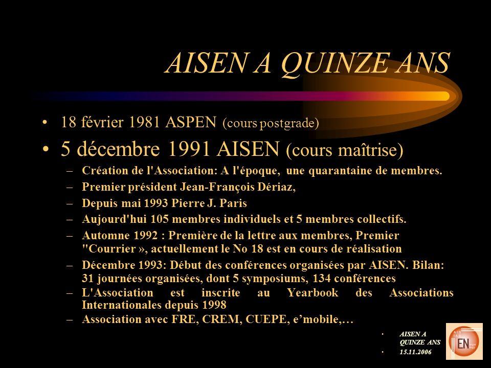 AISEN A QUINZE ANS 18 février 1981 ASPEN (cours postgrade) 5 décembre 1991 AISEN (cours maîtrise) –Création de l Association: A l époque, une quarantaine de membres.