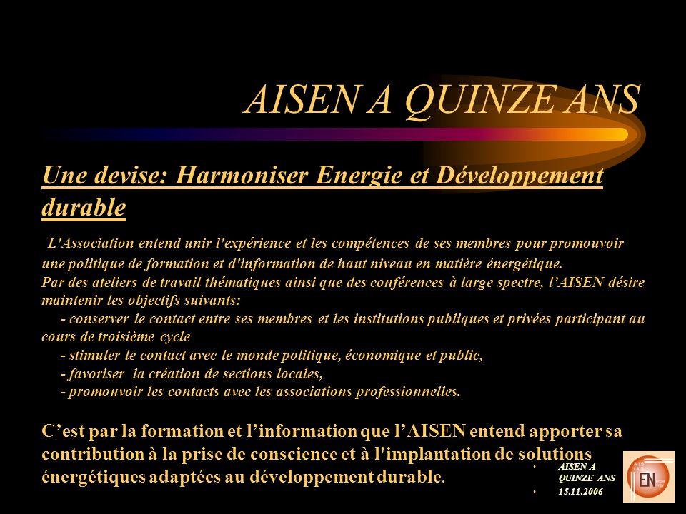 AISEN A QUINZE ANS 15.11.2006 Une devise: Harmoniser Energie et Développement durable L'Association entend unir l'expérience et les compétences de ses
