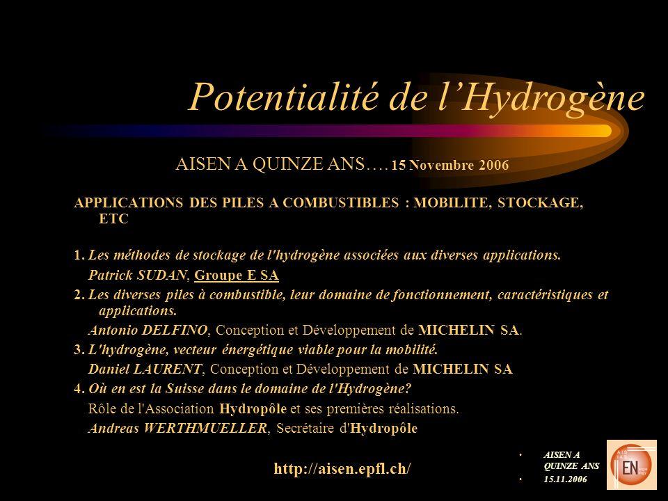 Potentialité de lHydrogène AISEN A QUINZE ANS…. 15 Novembre 2006 APPLICATIONS DES PILES A COMBUSTIBLES : MOBILITE, STOCKAGE, ETC 1. Les méthodes de st
