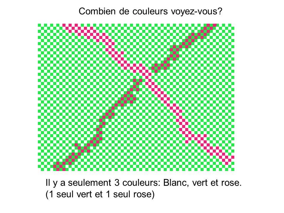Combien de couleurs voyez-vous? Il y a seulement 3 couleurs: Blanc, vert et rose. (1 seul vert et 1 seul rose)