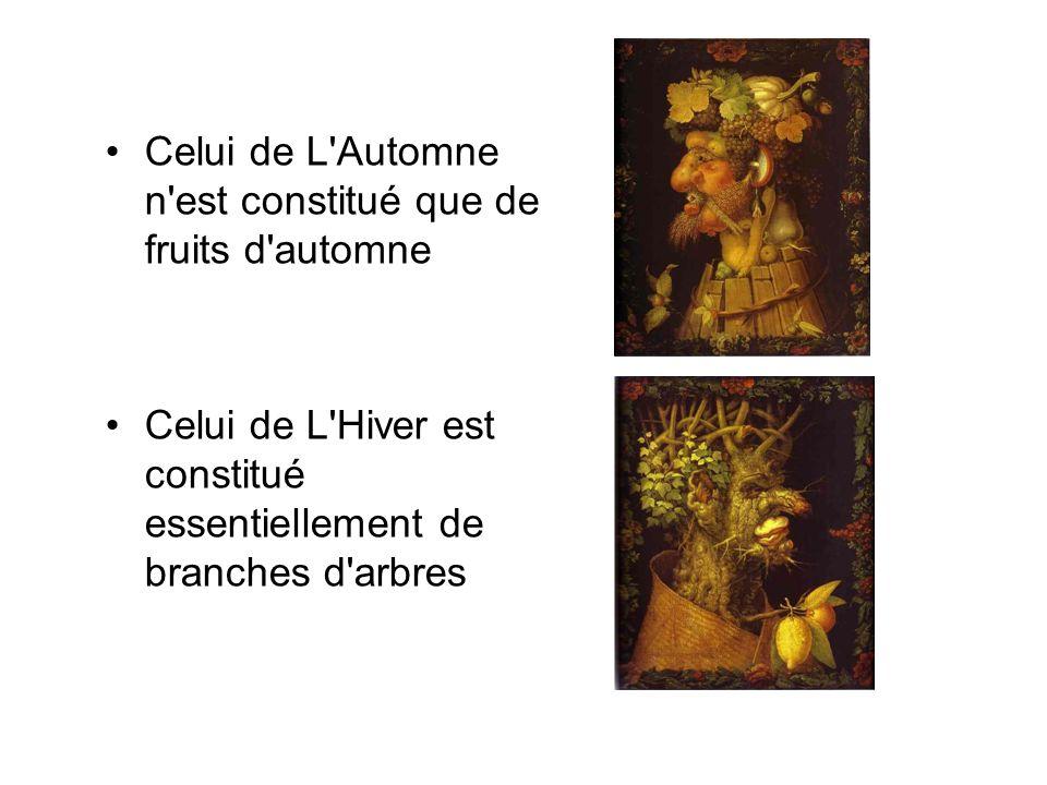Celui de L'Automne n'est constitué que de fruits d'automne Celui de L'Hiver est constitué essentiellement de branches d'arbres