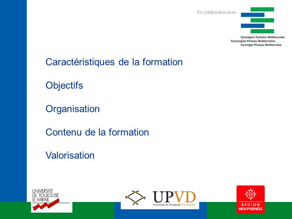 Caractéristiques de la formation Objectifs Organisation Contenu de la formation Valorisation En collaboration avec