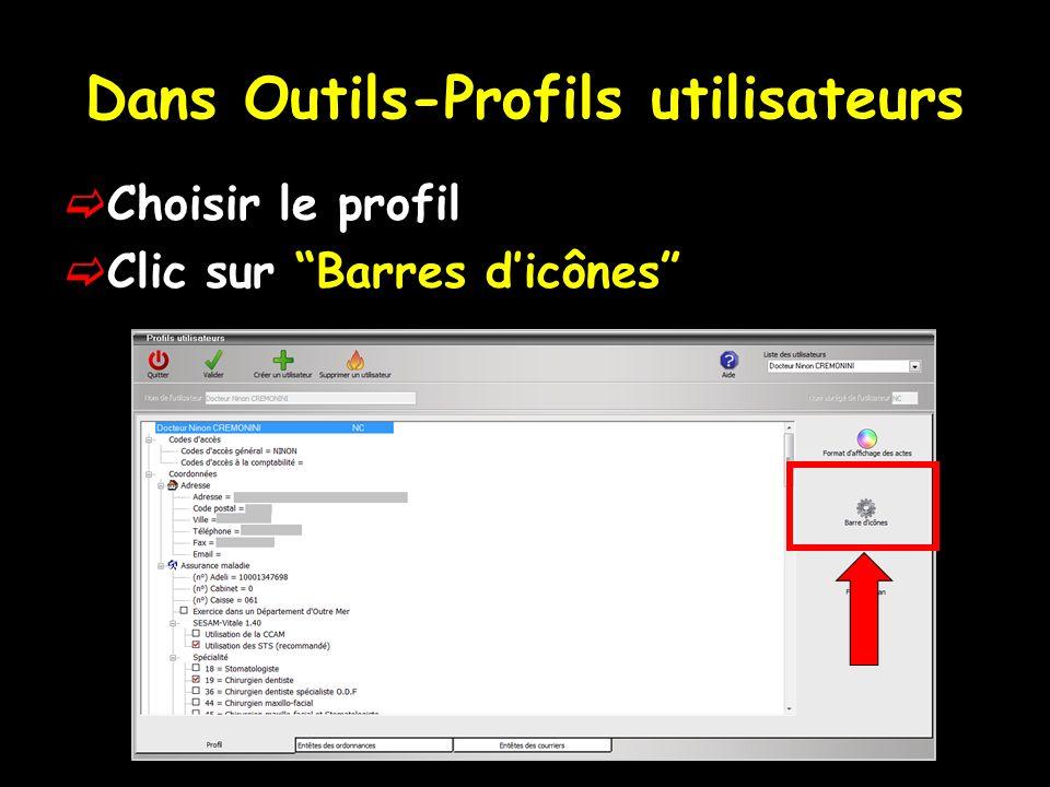 Dans Outils-Profils utilisateurs Choisir le profil Clic sur Barres dicônes