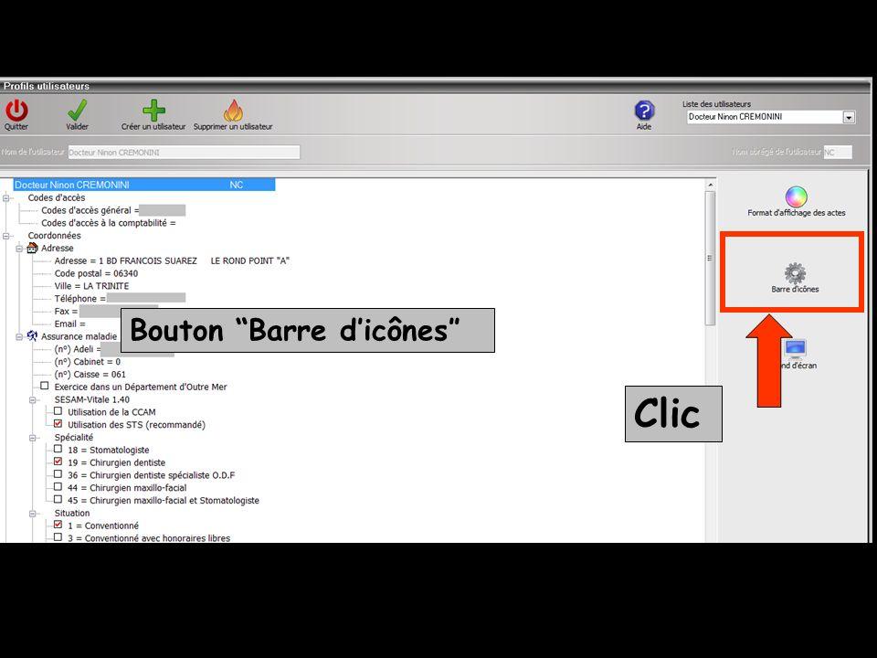 Clic Bouton Barre dicônes