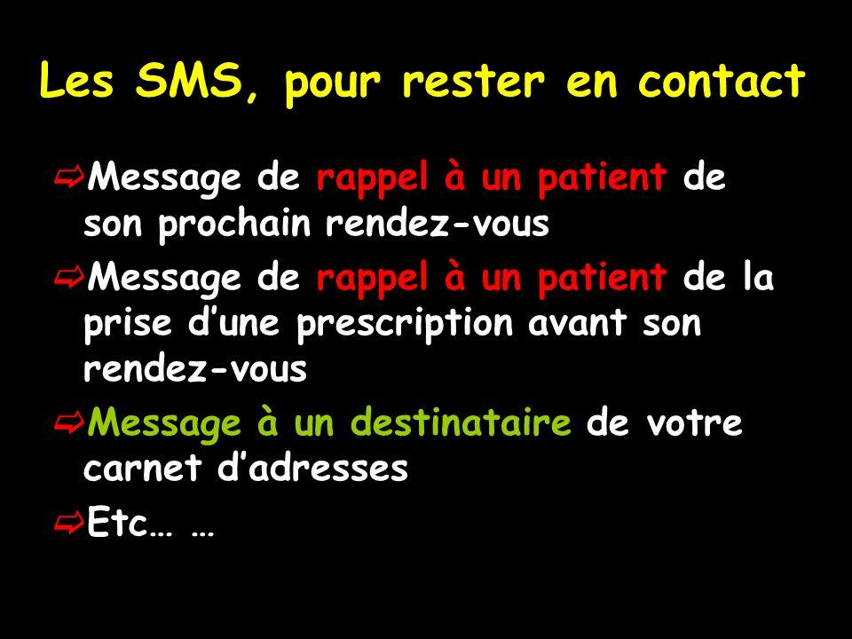Les SMS, pour rester en contact Message de rappel à un patient de son prochain rendez-vous Message de rappel à un patient de la prise dune prescription avant son rendez-vous Message à un destinataire de votre carnet dadresses Etc… …