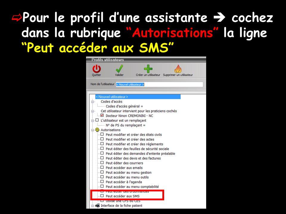 Pour le profil dune assistante cochez dans la rubrique Autorisations la ligne Peut accéder aux SMS
