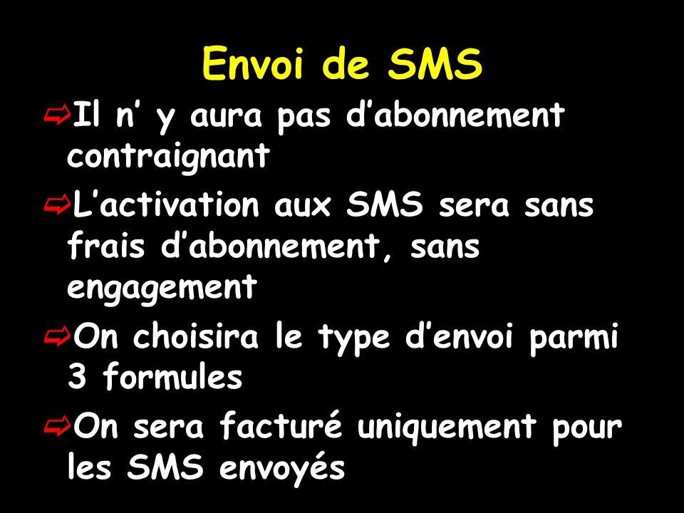 Envoi de SMS Il n y aura pas dabonnement contraignant Lactivation aux SMS sera sans frais dabonnement, sans engagement On choisira le type denvoi parmi 3 formules On sera facturé uniquement pour les SMS envoyés