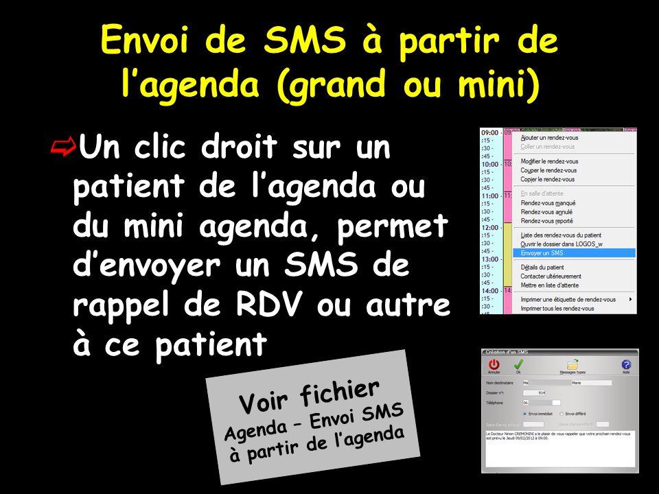 Envoi de SMS à partir de lagenda (grand ou mini) Un clic droit sur un patient de lagenda ou du mini agenda, permet denvoyer un SMS de rappel de RDV ou autre à ce patient Voir fichier Agenda – Envoi SMS à partir de lagenda
