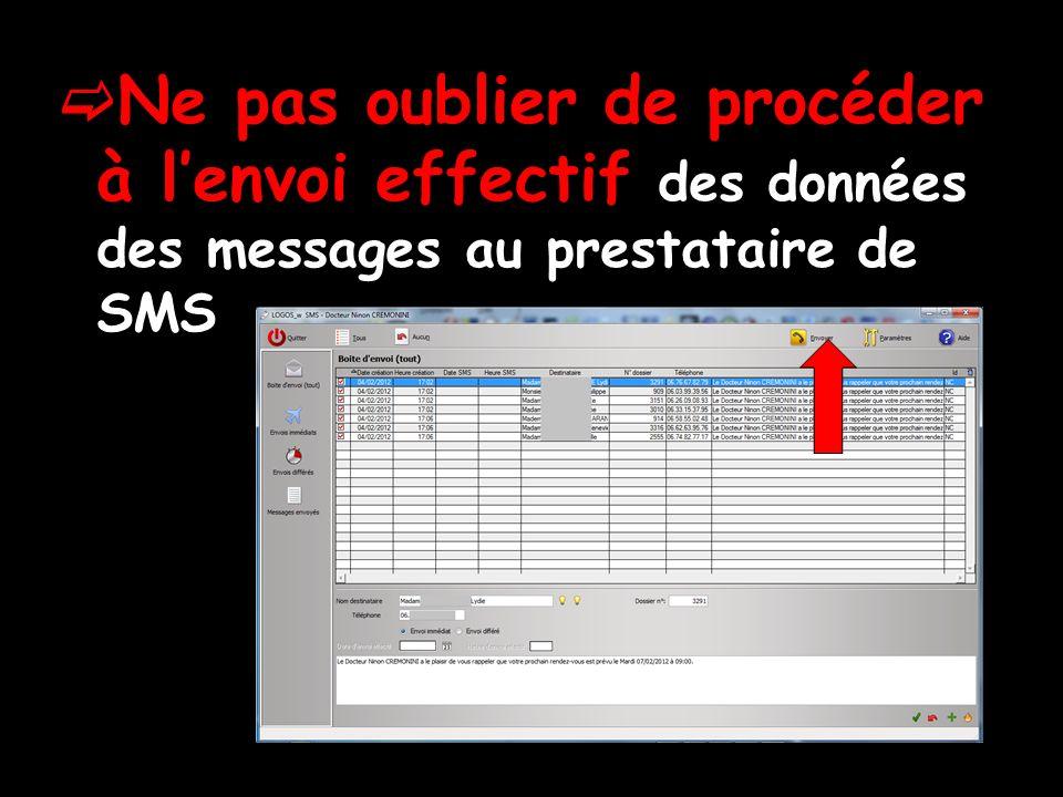 Ne pas oublier de procéder à lenvoi effectif des données des messages au prestataire de SMS