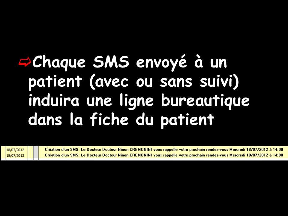 Chaque SMS envoyé à un patient (avec ou sans suivi) induira une ligne bureautique dans la fiche du patient