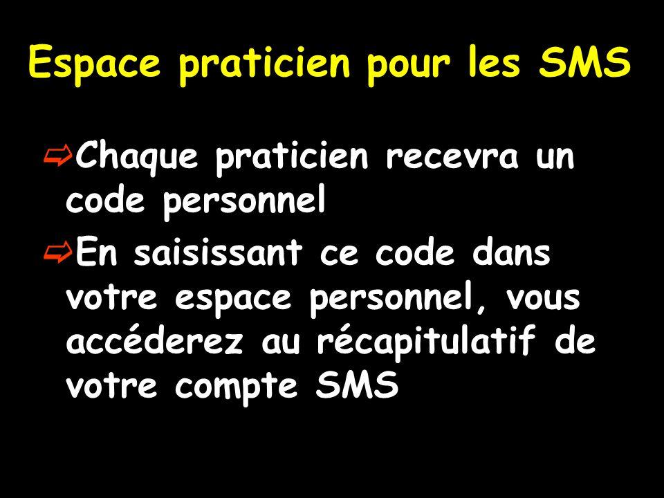 Espace praticien pour les SMS Chaque praticien recevra un code personnel En saisissant ce code dans votre espace personnel, vous accéderez au récapitulatif de votre compte SMS