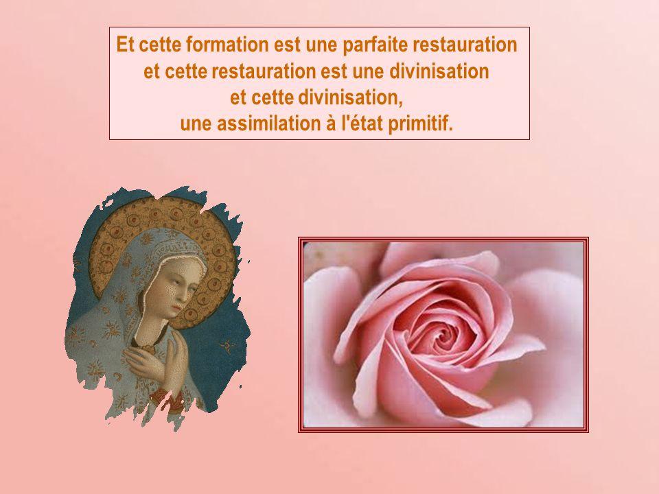 Et cette formation est une parfaite restauration et cette restauration est une divinisation et cette divinisation, une assimilation à l état primitif.