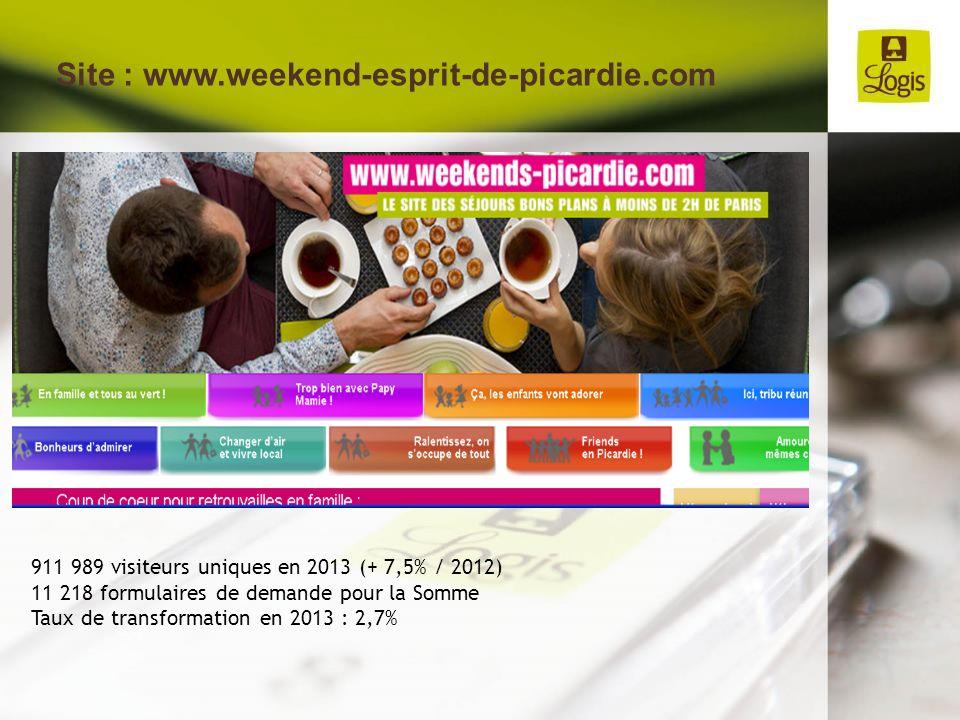 Site : www.weekend-esprit-de-picardie.com 911 989 visiteurs uniques en 2013 (+ 7,5% / 2012) 11 218 formulaires de demande pour la Somme Taux de transf