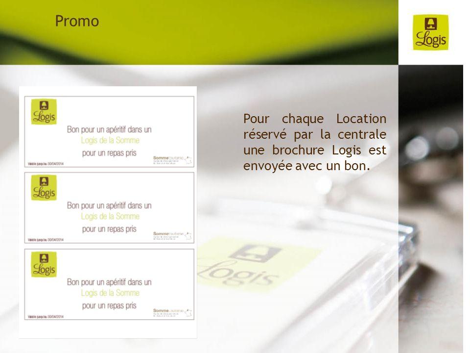 Pour chaque Location réservé par la centrale une brochure Logis est envoyée avec un bon. Promo