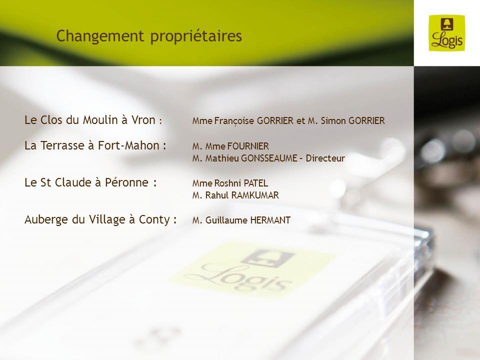 Le Clos du Moulin à Vron : Mme Françoise GORRIER et M. Simon GORRIER La Terrasse à Fort-Mahon : M. Mme FOURNIER M. Mathieu GONSSEAUME – Directeur Le S