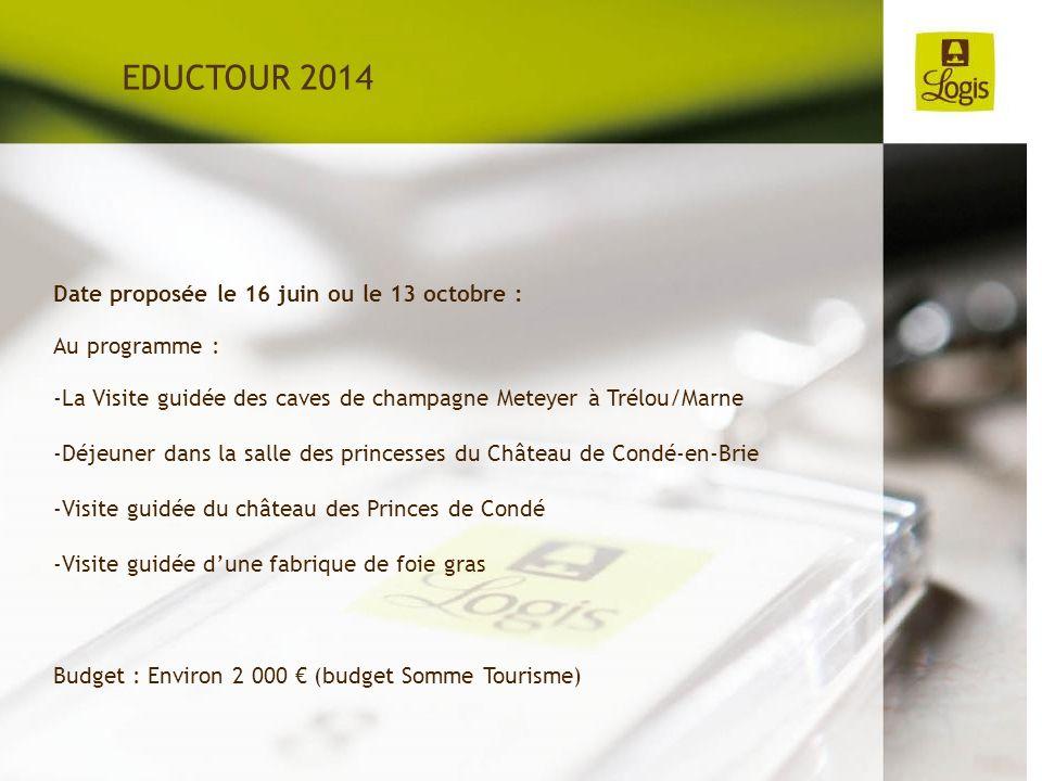 Date proposée le 16 juin ou le 13 octobre : Au programme : -La Visite guidée des caves de champagne Meteyer à Trélou/Marne -Déjeuner dans la salle des