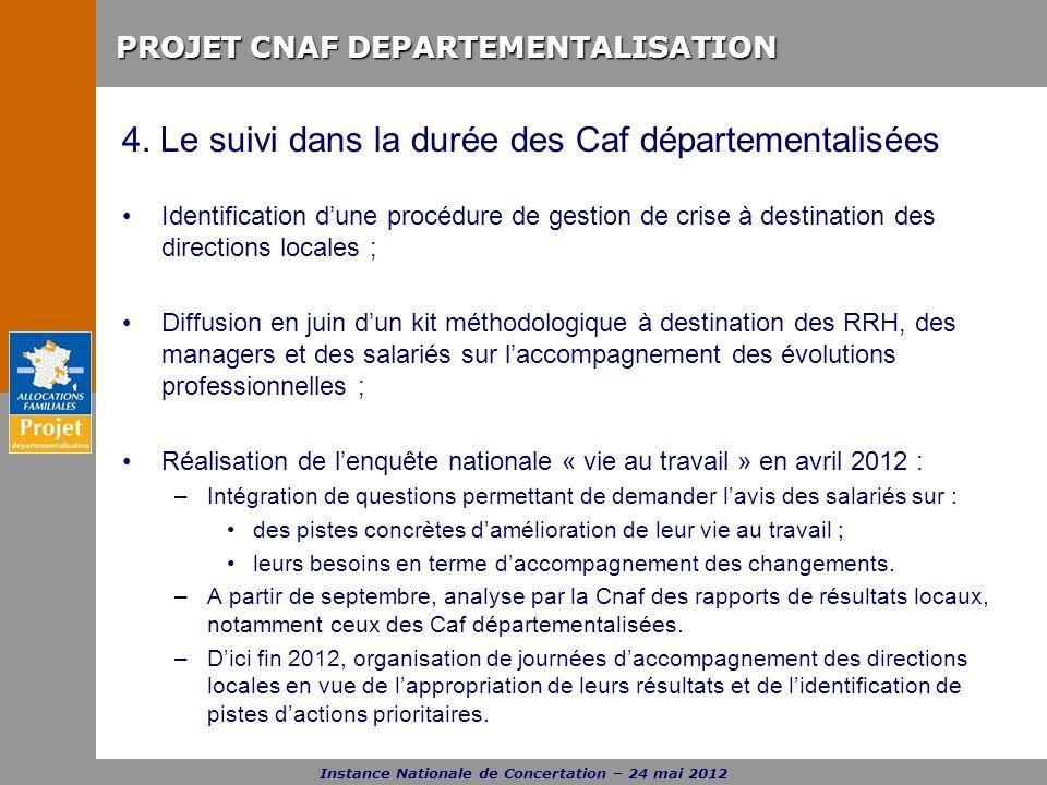 PROJET CNAF DEPARTEMENTALISATION Instance Nationale de Concertation – 24 mai 2012 4. Le suivi dans la durée des Caf départementalisées Identification