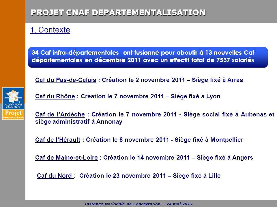 PROJET CNAF DEPARTEMENTALISATION Instance Nationale de Concertation – 24 mai 2012 Caf du Pas-de-Calais : Création le 2 novembre 2011 – Siège fixé à Ar