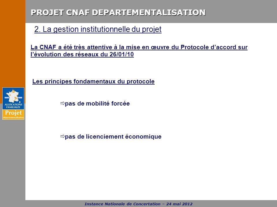 PROJET CNAF DEPARTEMENTALISATION Instance Nationale de Concertation – 24 mai 2012 La CNAF a été très attentive à la mise en œuvre du Protocole daccord