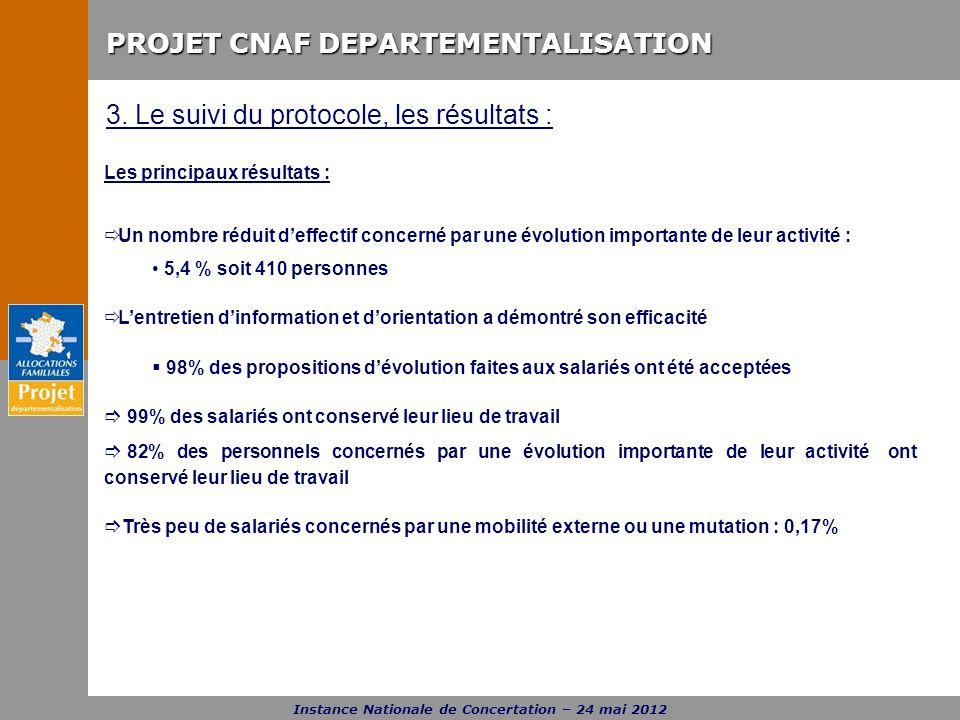 PROJET CNAF DEPARTEMENTALISATION Instance Nationale de Concertation – 24 mai 2012 3. Le suivi du protocole, les résultats : Les principaux résultats :