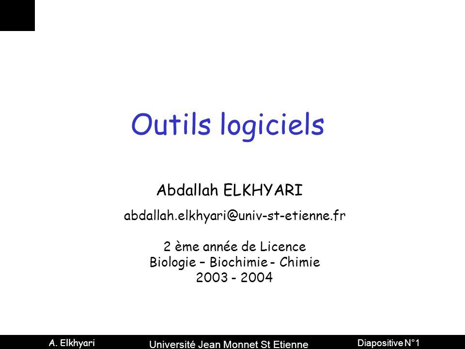 Université Jean Monnet St Etienne A. Elkhyari Diapositive N°1 Outils logiciels Abdallah ELKHYARI abdallah.elkhyari@univ-st-etienne.fr 2 ème année de L