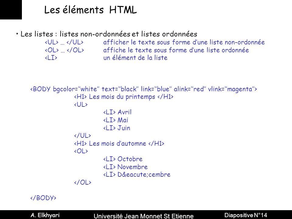 Université Jean Monnet St Etienne A. Elkhyari Diapositive N°14 Les éléments HTML Les listes : listes non-ordonnées et listes ordonnées … afficher le t