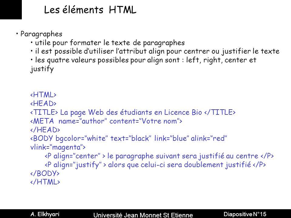 Université Jean Monnet St Etienne A. Elkhyari Diapositive N°15 Les éléments HTML Paragraphes utile pour formater le texte de paragraphes il est possib