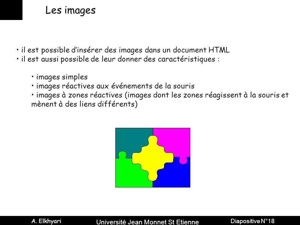 Université Jean Monnet St Etienne A. Elkhyari Diapositive N°18 Les images il est possible dinsérer des images dans un document HTML il est aussi possi